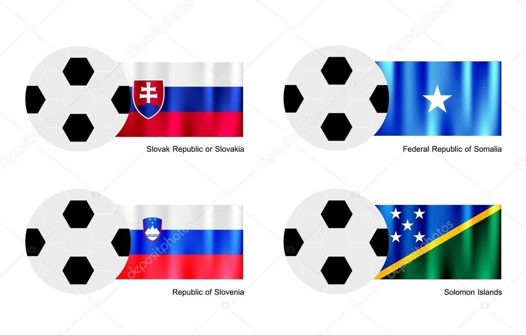 Una ilustración de balones de fútbol o pelotas de fútbol con las ...