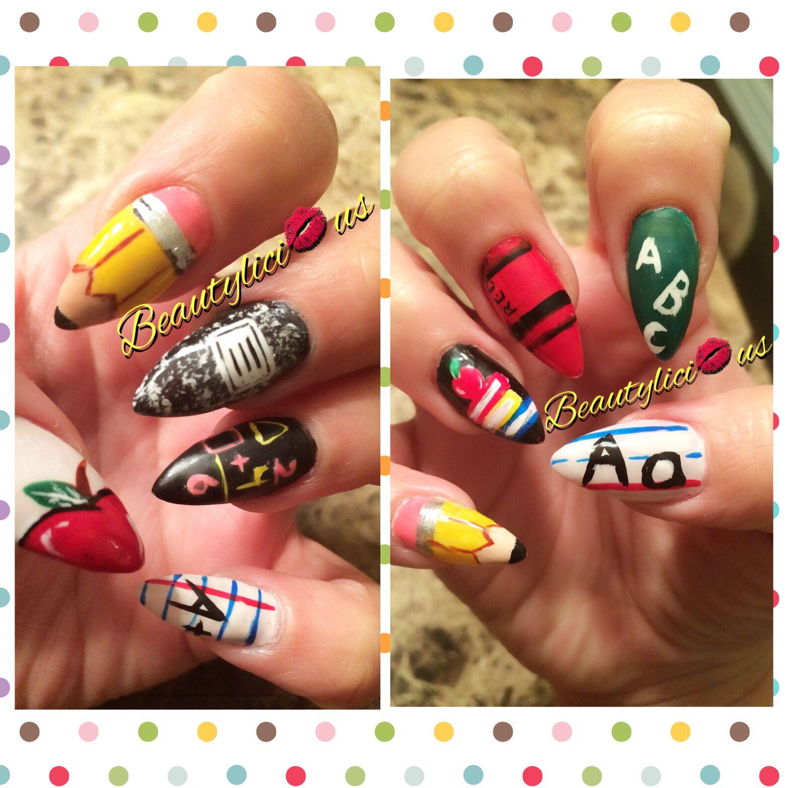 Back to school nails/ stiletto nails/ pencil nails/ nail art/nail ...