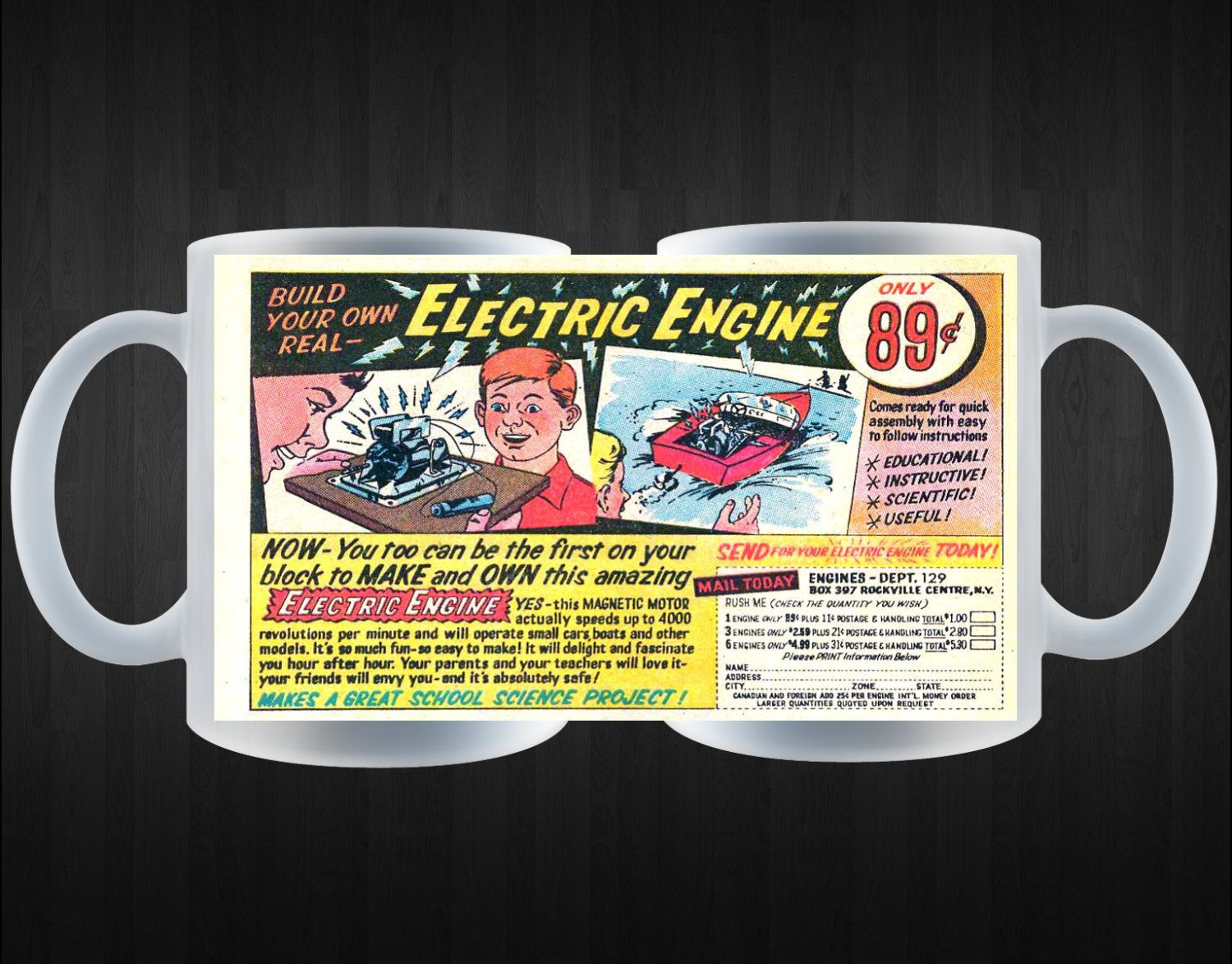Comic Book Ad Coffee Mug Electric Engine Mail In Order