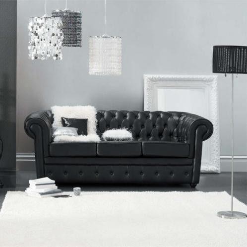 Gestepptes 3 Sitzer Sofa Aus Leder Schwarz Pinterest Chesterfield