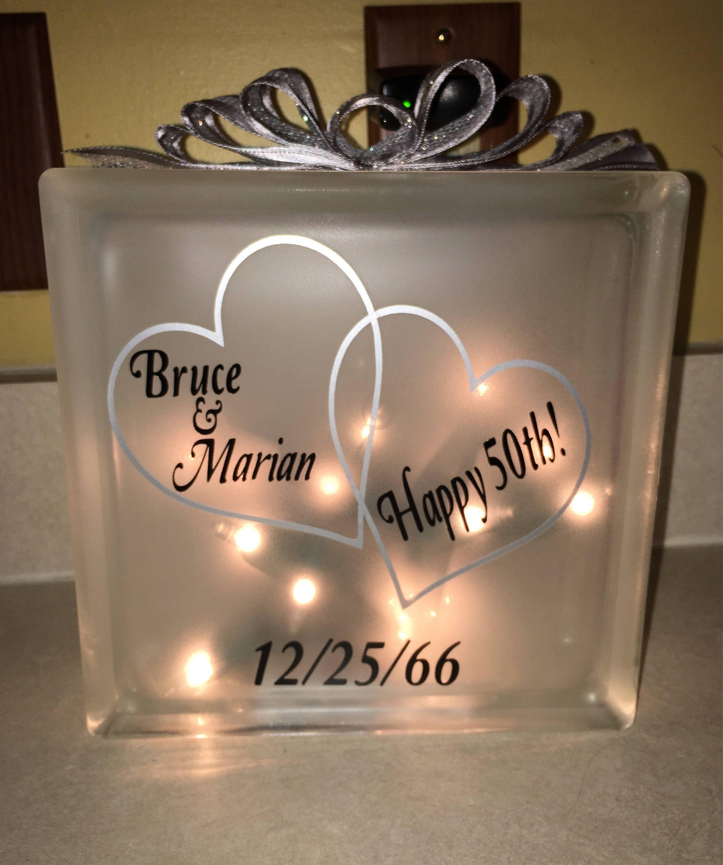 Unique 50th Anniversary Gift Golden 50th Wedding Anniversary Glass Block Light