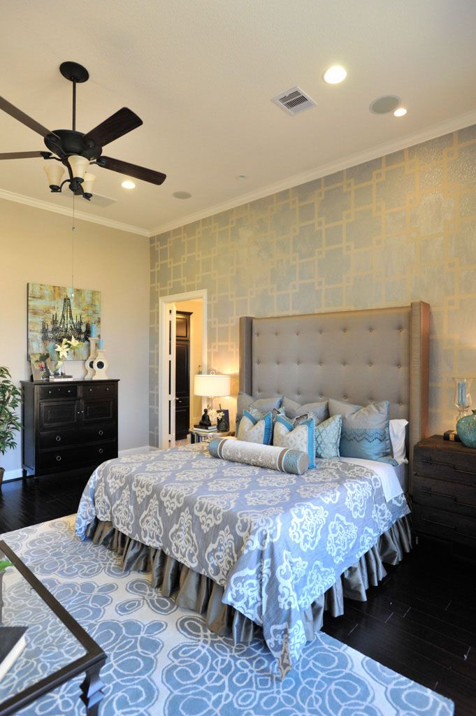 pretty master bedroom love the upholstered headboard spaces i love