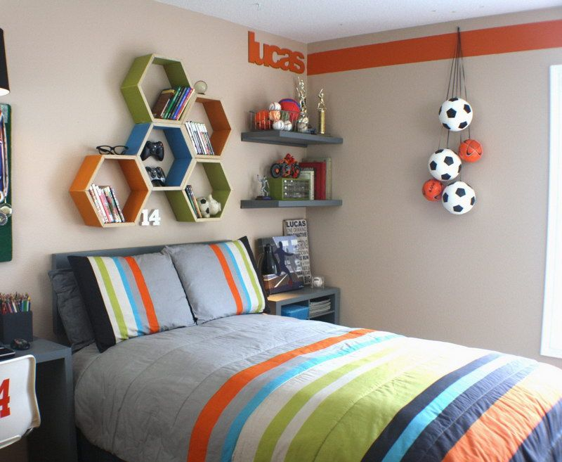 Kids Room Decorating Ideas Part - 50: Teen Boy Room Decorating Ideas : Teen Boy Room Decorating Ideas With Style  Wall Shelves