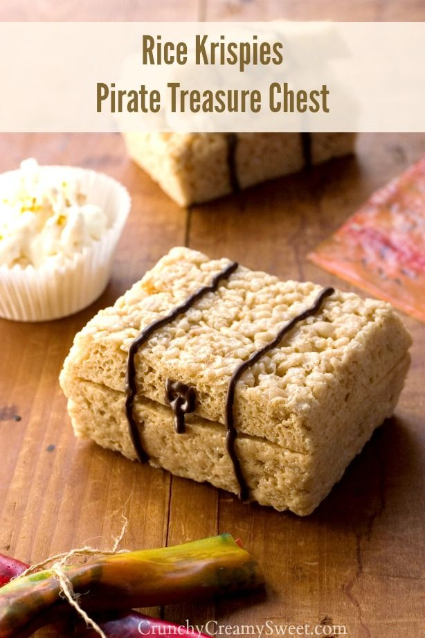 Rice Krispies Pirate Treasure Chest - really easy food craft for a pirate theme birthday party!