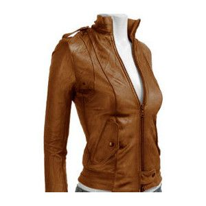 Brown Leather Bomber Jacket Women Photo Album - Reikian