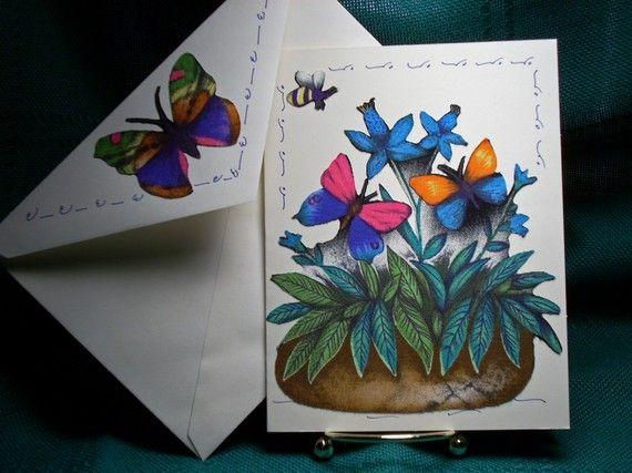 NOTECARDSButterflies and Flowers-2 by acraftingheart on Etsy