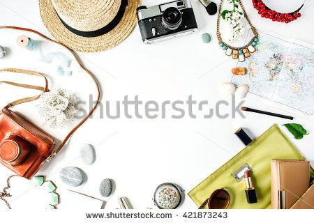 Workspace. Brushes, palette, bouquet of lilac, tablet and smart phone isolated on white background. flat lay, overhead view, top view