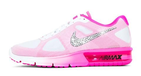 huge selection of be801 13959 Nike Air Max Sequent + Swarovski Crystal Swoosh - White Pink