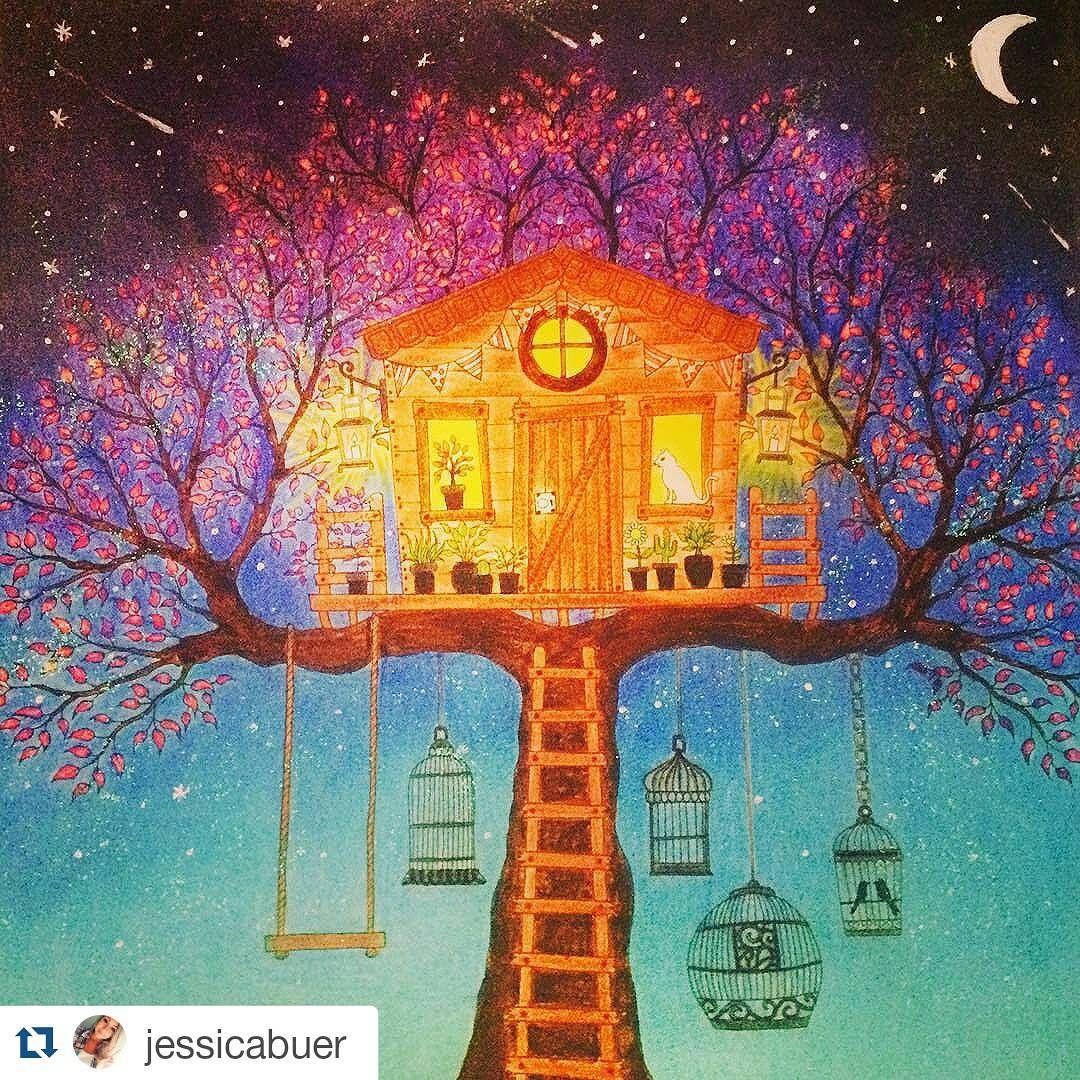 Casinha iluminada! #Repost @jessicabuer with @repostapp ・・・#desenhoscolorir Ufa mais um terminado ❤️ #jardimsecreto #secretgarden #johannabasford #florestaencantada #livrodecolorir