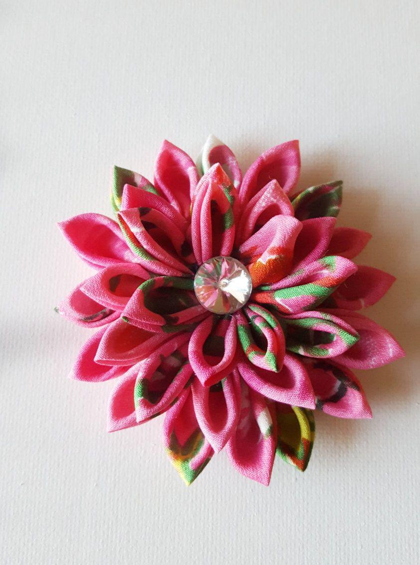 Kanzashi Hair Clip Hair Flower Pink Purple Teal Hair Flower