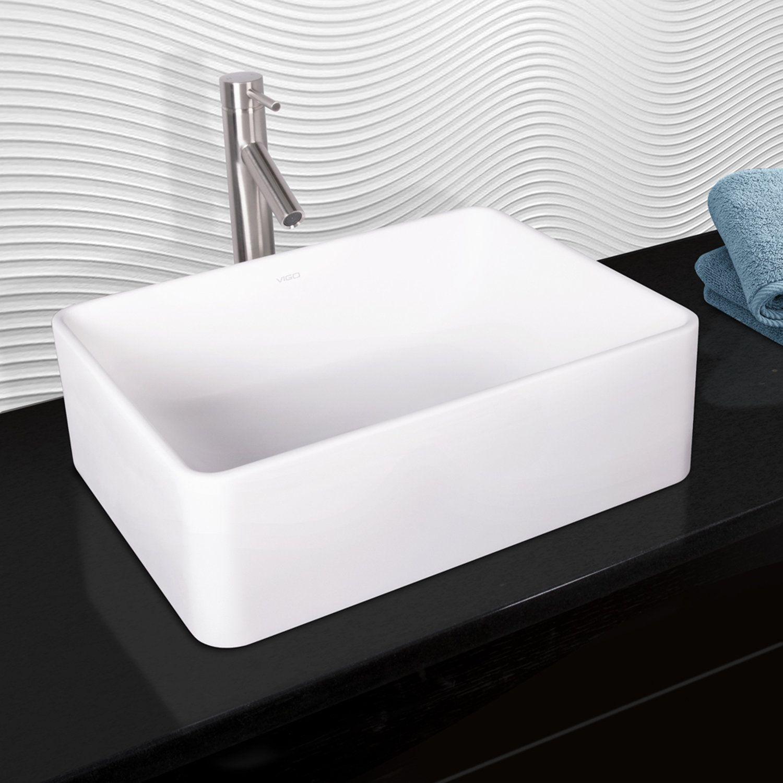 Caladesi Matte Stone Rectangular Vessel Bathroom Sink