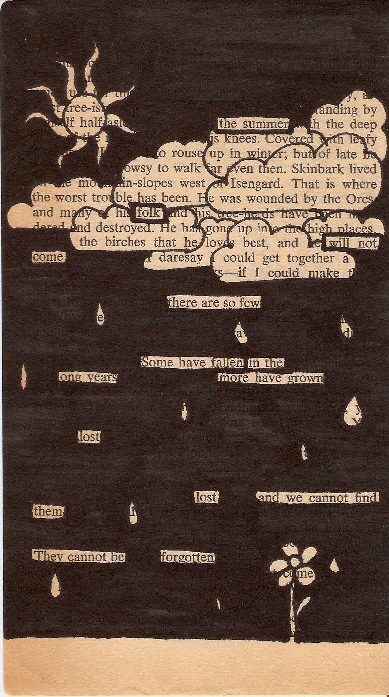 Some blackout poetry I attempted. I didn't like it, but I thought it counted.