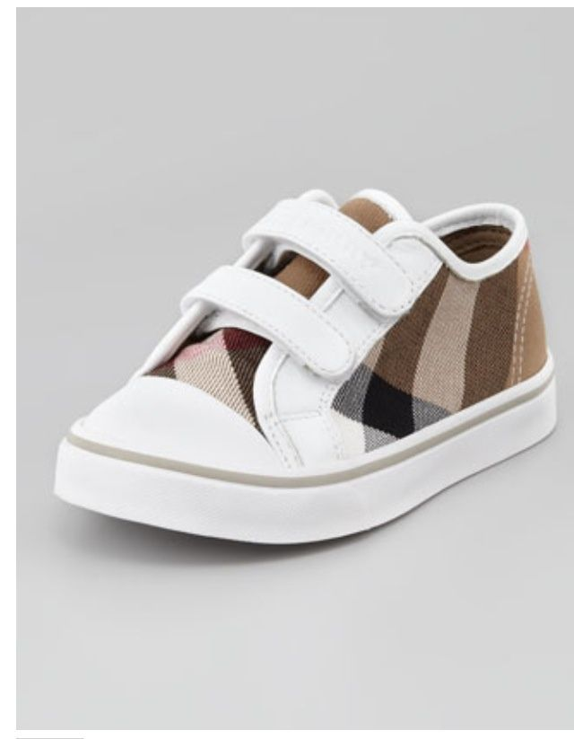 Check Double-Strap Sneaker, White by Burberry at Neiman Marcus.