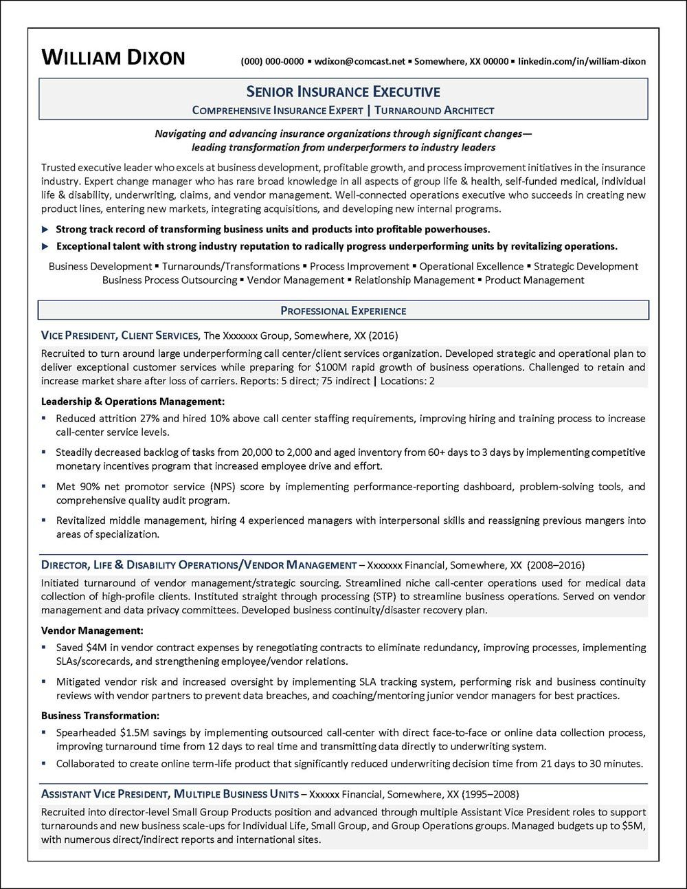 Insurance industry resume example resume examples