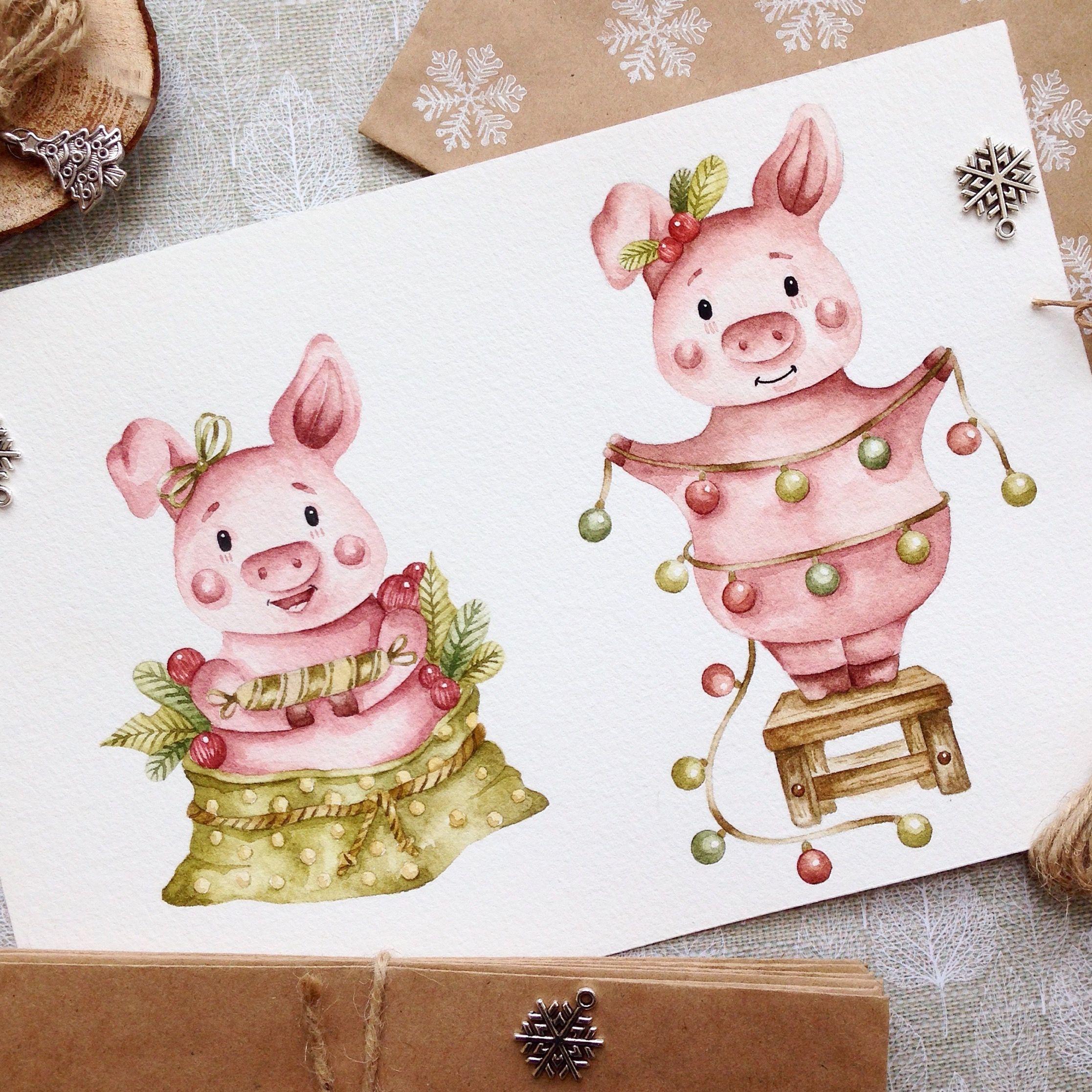 рисунок новогодней свинки открытка думаешь, что