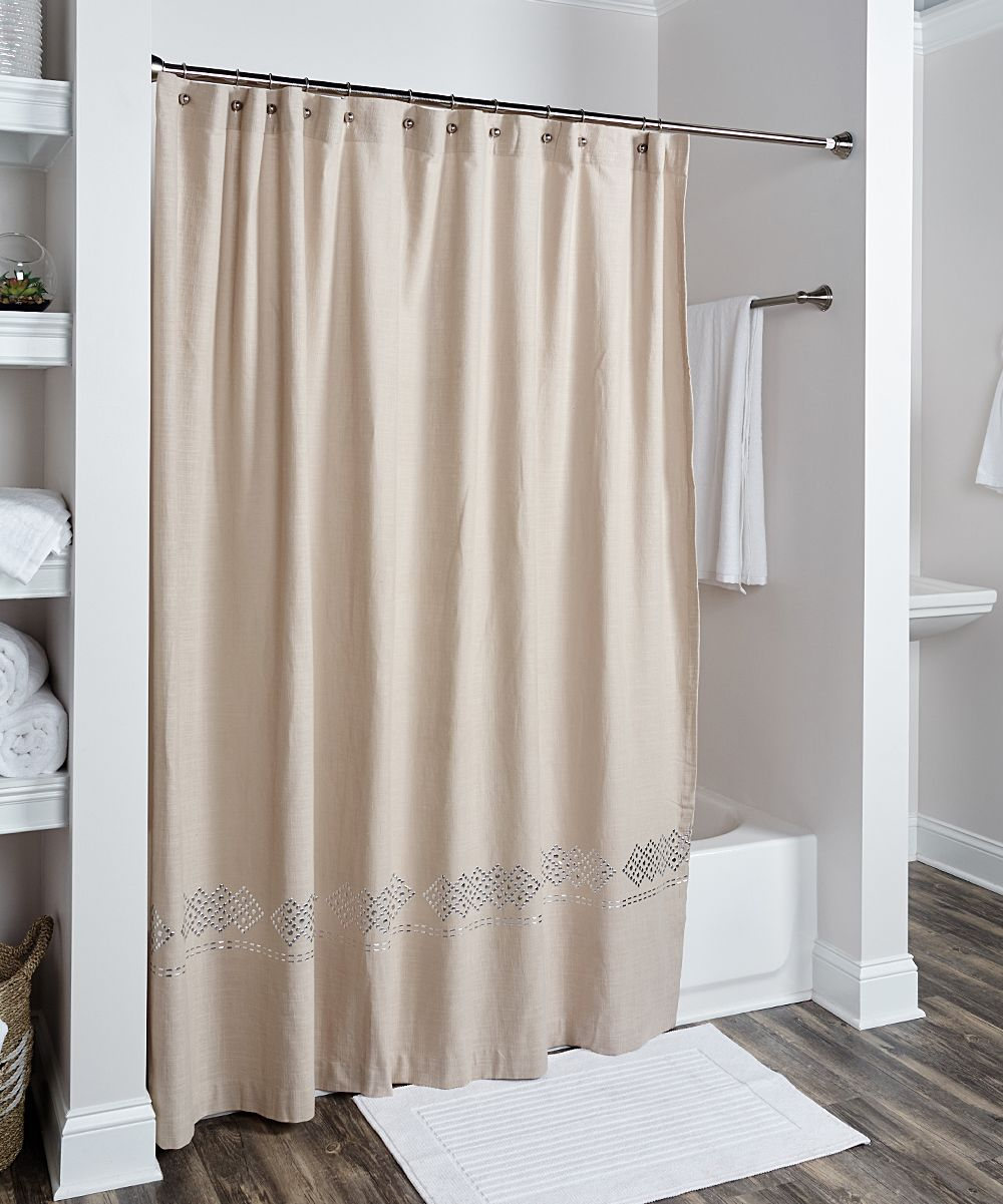 Beige Metallic Silver Shower Curtain