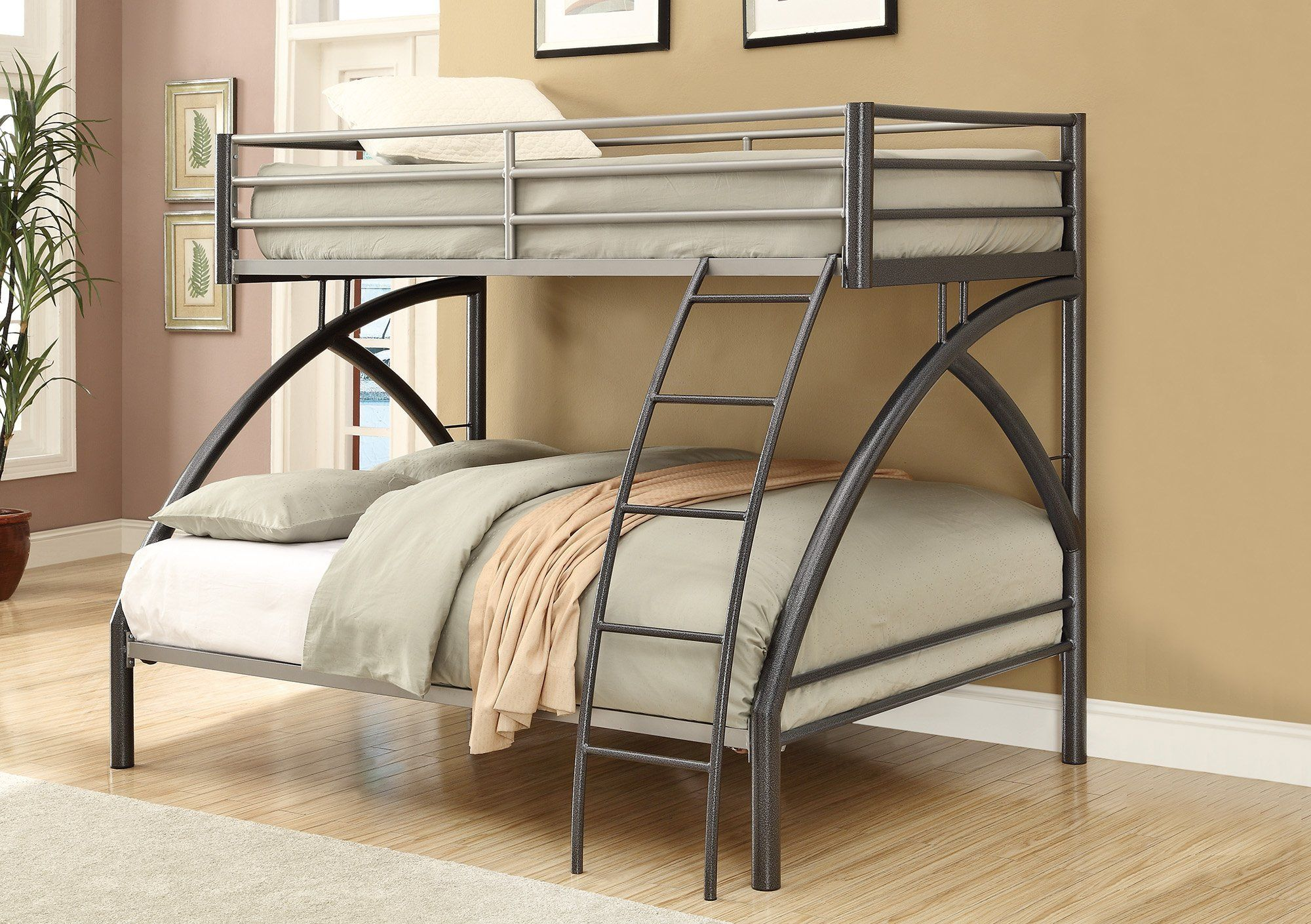 Contemporary Style Metal Twin Over Full Bunk Bed Gunmetal Gray
