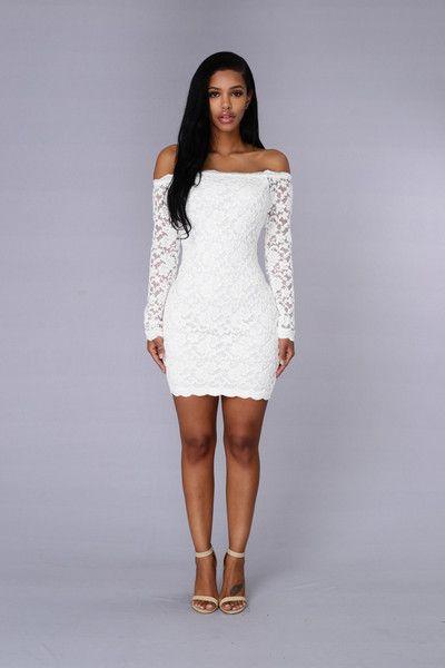 Off Shoulder Lace Bodycon Dress - White  ac139f839f81