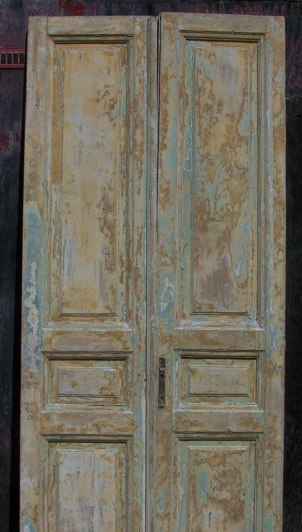Antique Mediterranean Tall Wood Doors Raised Panel Golden Yellow Whitewash Turquoise Two Panel Door Tall Wo Antique French Doors Wood Balusters Two Panel Doors