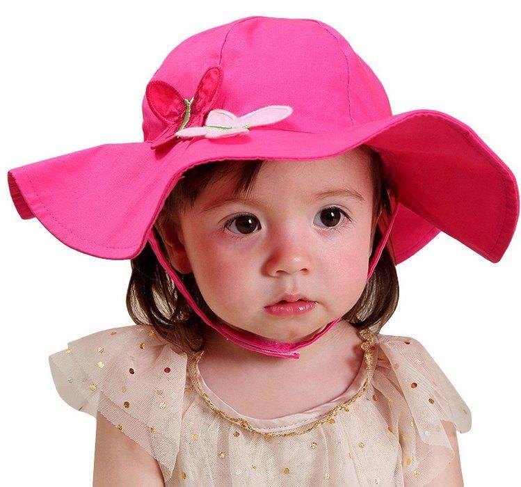 999e827910f0 Happy Cherry Bébé Chapeau de Soleil Décor à Papillon en Coton Magenta Bob  Hat Bonnet Plage Bord Eté Respirant Anti-UV Casquette Enfant Fille Pêche  Voyage ...