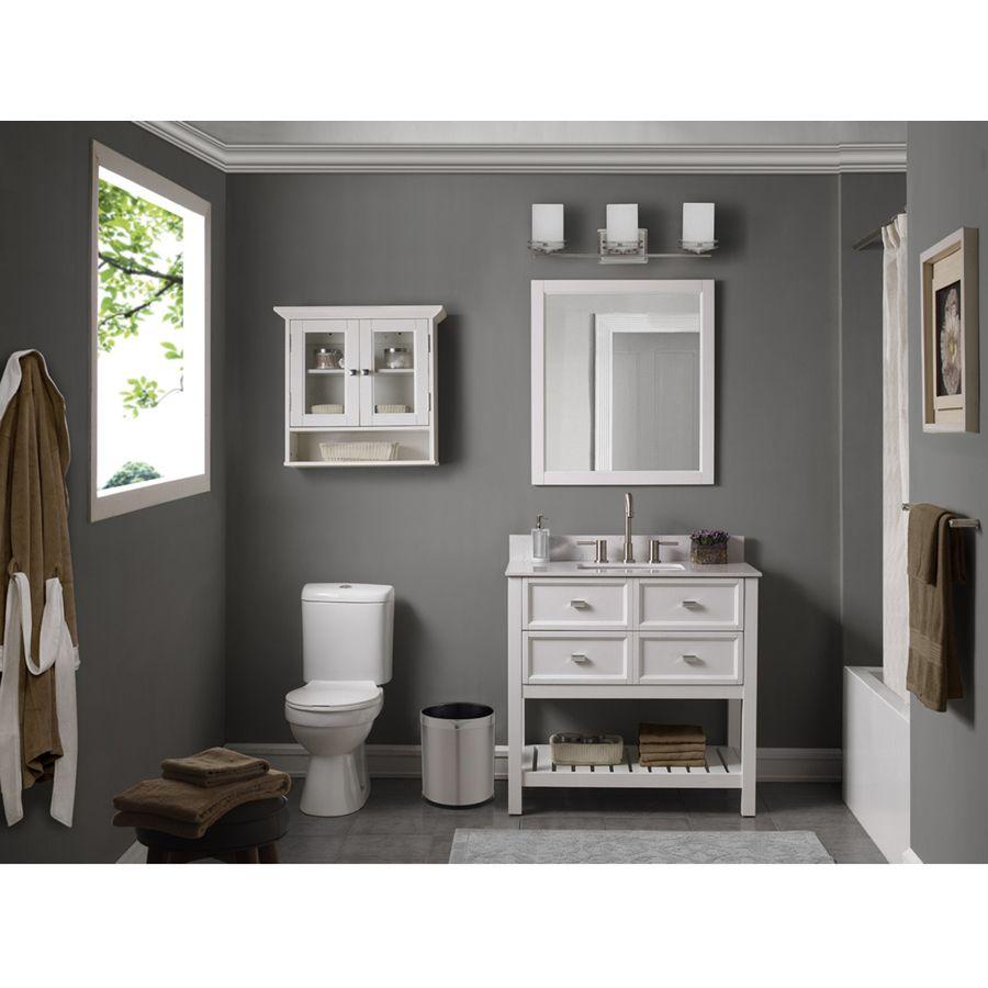 Scott Living Canterbury White 36 In Single Sink Poplar Bathroom Vanity With Engineered Stone Top