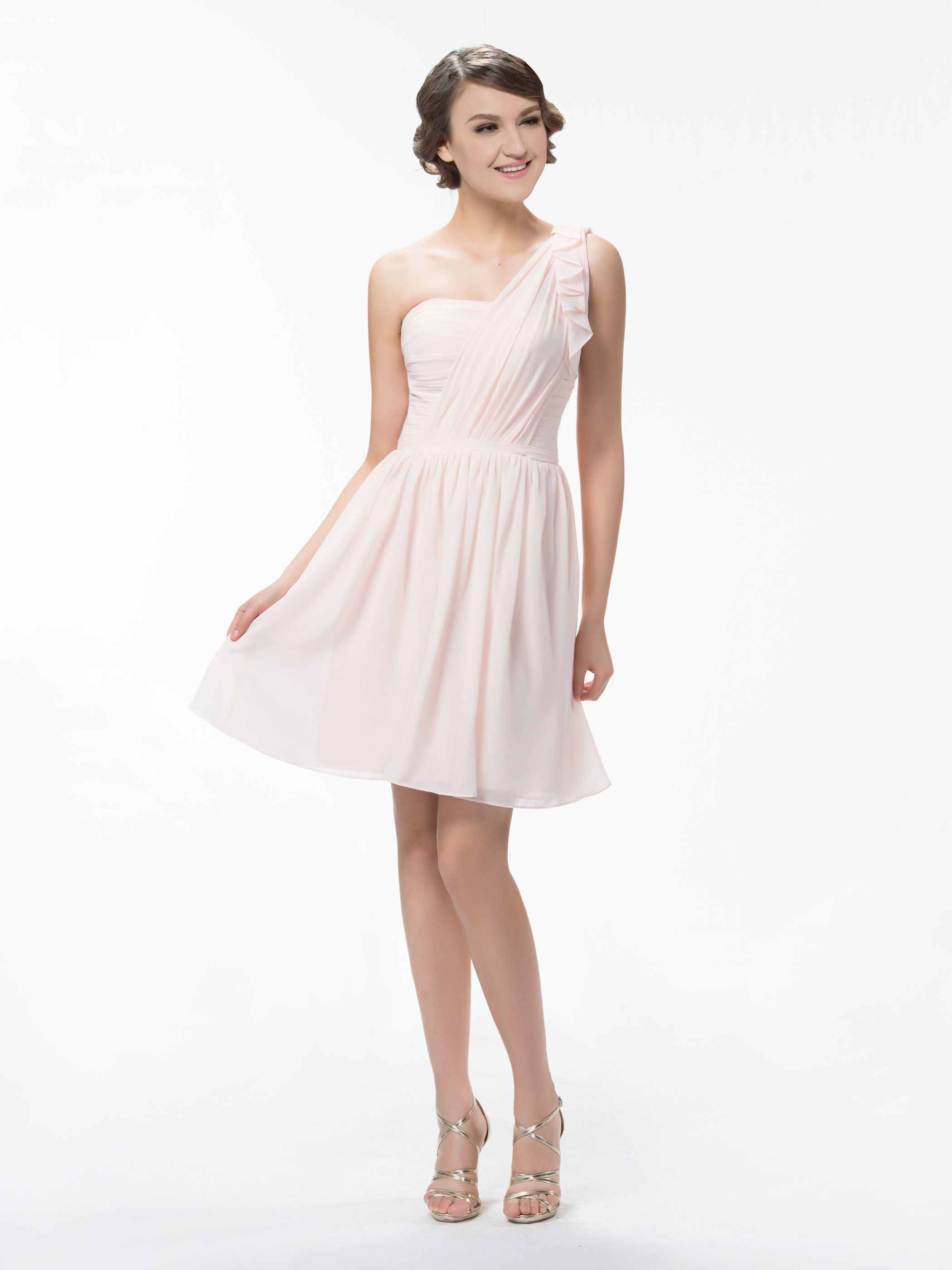 One shoulder aline shortmini ruffles bridesmaid dress ruffles
