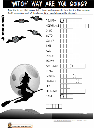 Halloween Cryptic Puzzle Worksheets  Halloween Printables Games