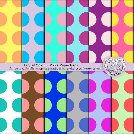 Digital Scrapbooking Polka Dot Patterns Crafts Paper by ArtistaQ8, $4.50