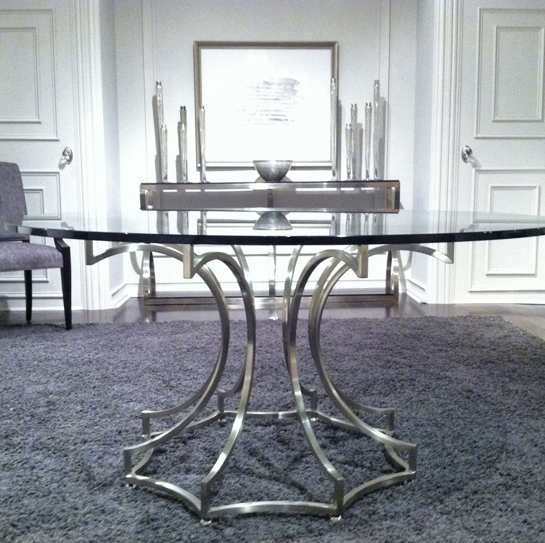 First Look Bernhardt Miramont Round Dining Table In Steel And