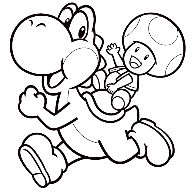 Yoshi And Toad Coloring Picture Super Mario Coloring Pages