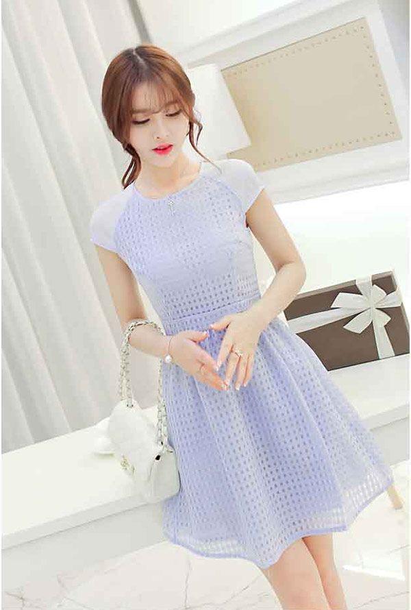 Dress Pendek Warna Biru Cantik Kombinasi Sifon Dan Organza A2989