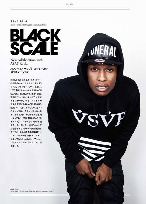 66fc1c78a5304 Black Scale. ASAP Rocky. Funeral. Collaboration. Fashion. Street. Style.  Music. Rap. Artist. Black   White. Big Print. Typo. Man.