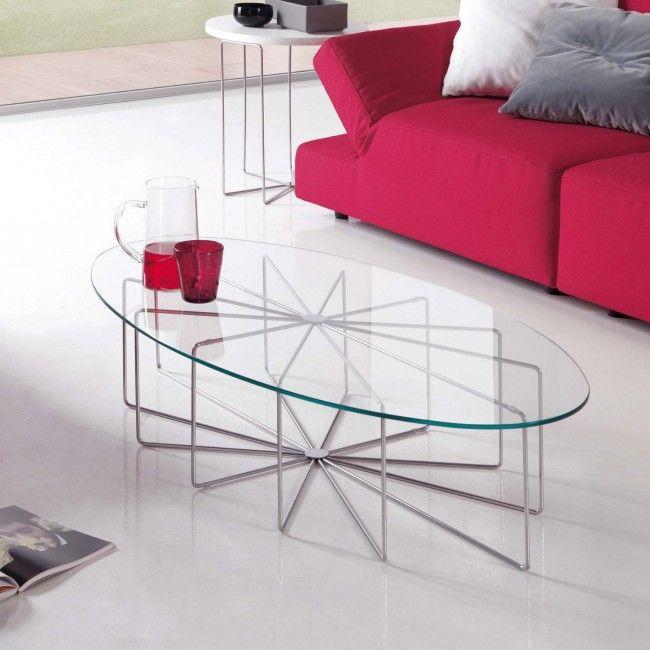 Tavolino di cristallo ovale o rotondo Maconi Silver Glass