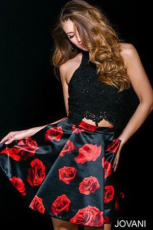 Black Multi Lace Top Floral Skirt 42490