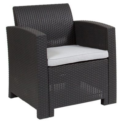 Flash Furniture Faux Rattan Patio Chair In Dark Grey Grey Cushions Outdoor Armchair Rattan Outdoor Chairs