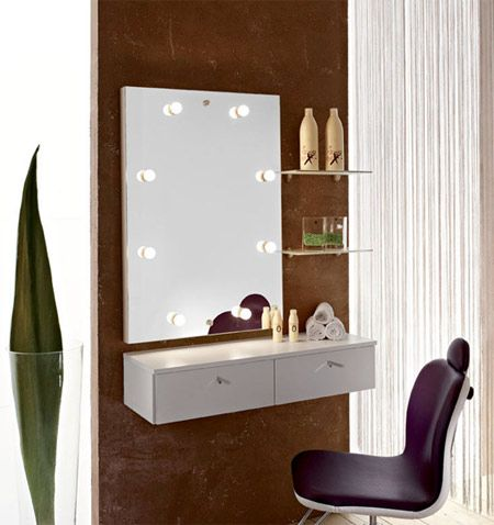 Wall mounted small dressing table with mirror lights for Bedroom designs with attached bathroom and dressing room
