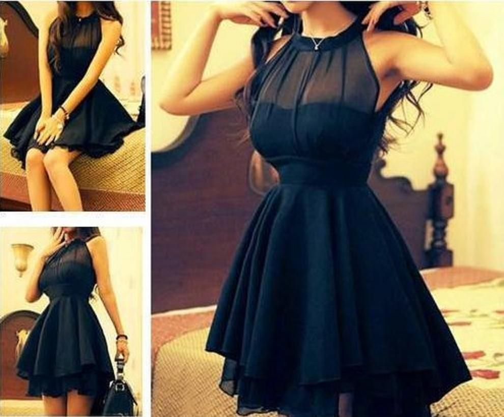 Lovely splicing dress ships woman and colour black