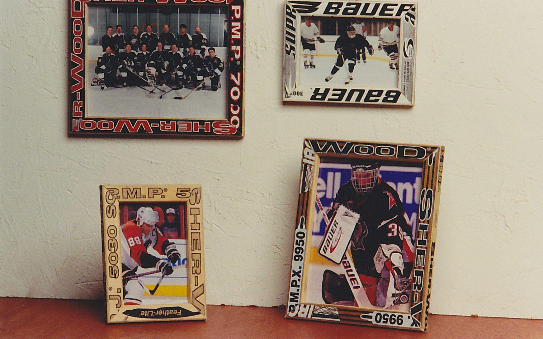Picture frames made from broken wooden hockey sticks. | Repurposing ...