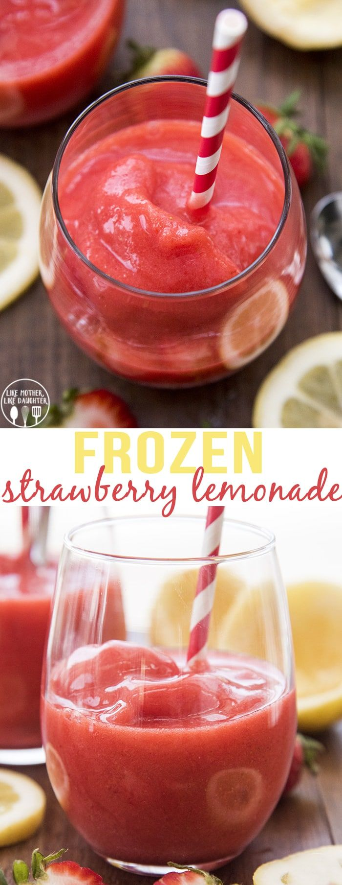 Frozen Strawberry Lemonade is the perfect sweet and tangy cold treat to help you stay cool this summer! #strawberrylemonaderecipes