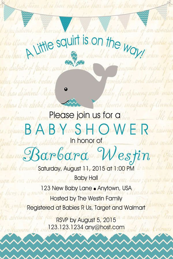 whale baby shower invitation - printable invitation - whale invite, Baby shower invitations