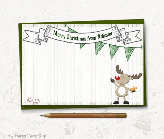 Christmas Note Card  Personalized Deer Christmas Thank You Card