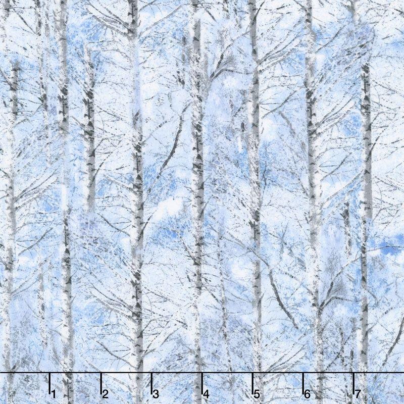 Country Holiday - Snowy Trees Sky Yardage