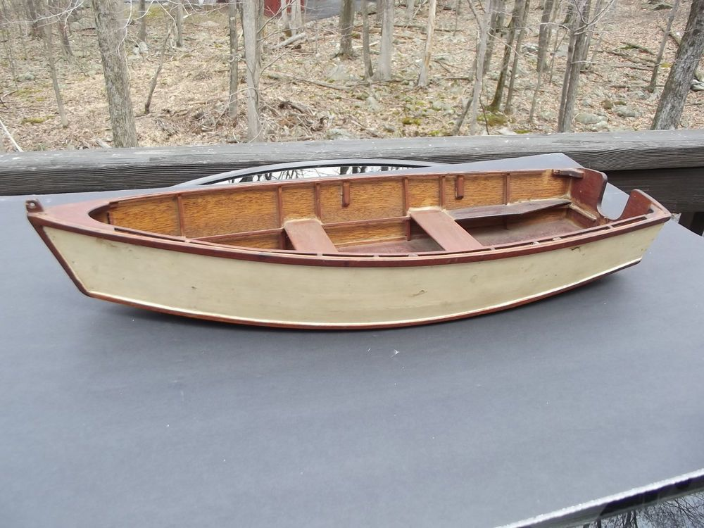 Old Vintage Wooden Model Skiff Fishing Boat Hand Made 20 Inches Long