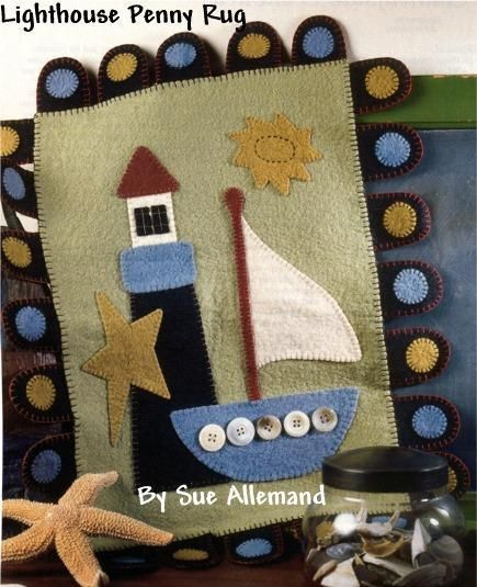 Sewing: LIGHTHOUSE PENNY RUG  I made this using up cycled wool coats