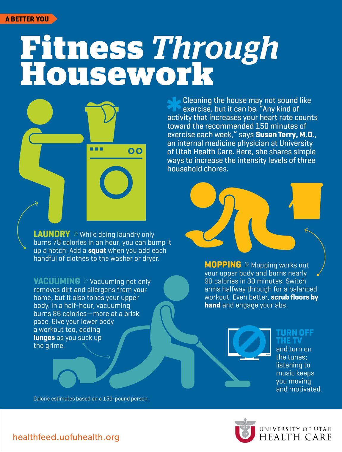 Fitness Through Housework Health Infographics Fitness Infographic Health Health