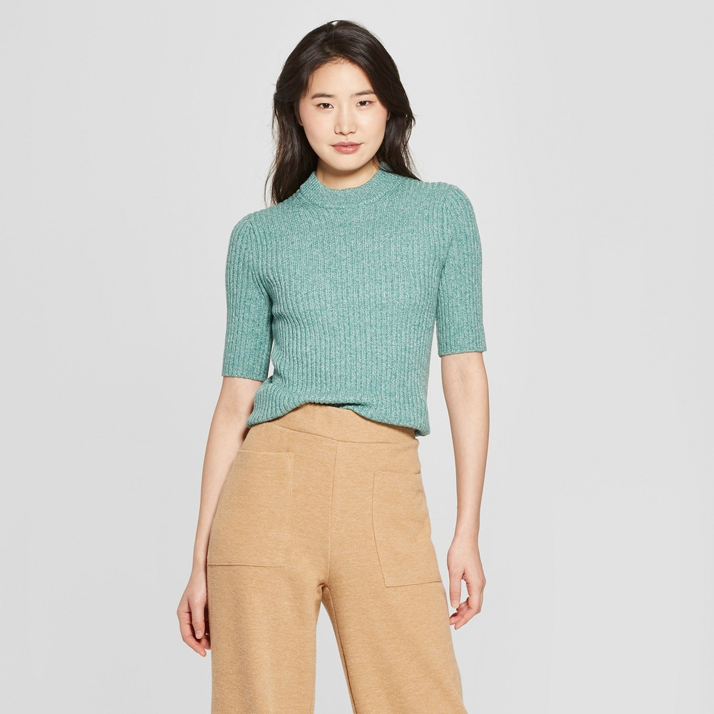 09e803929432 Women s Short Sleeve Shrunken Elbow Crew Sweater- Who What Wear Green Xxl
