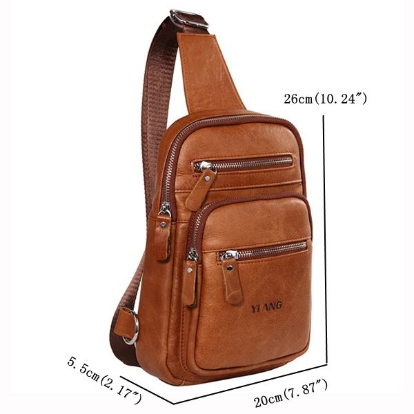 Genuine Leather Chest Bag First Layer Of Leather Casual Retro Single-shoulder Cr...