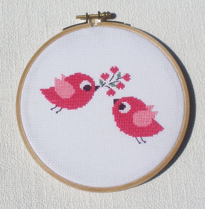 Cross stitch pattern - Birds in love