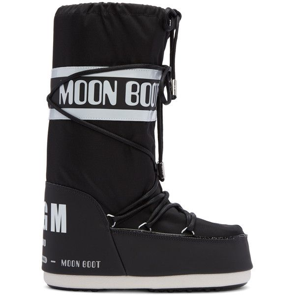 MSGM Black Moon Boot Edition Tall Boots (1.800 NOK) ❤ liked on Polyvore featuring shoes, boots, lace up boots, platform boots, black mid calf boots, mid calf boots and black high boots