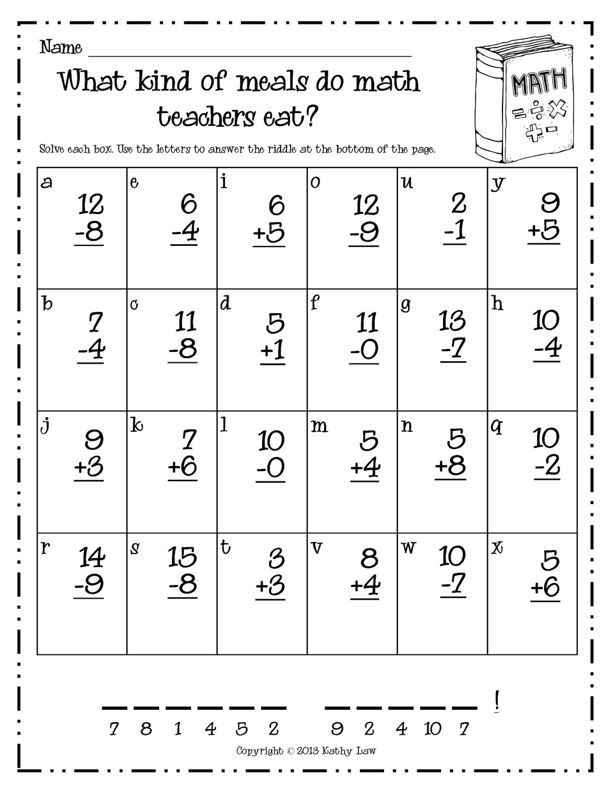 First Grade a la Carte: Just because...   First grade math worksheets [ 1600 x 1237 Pixel ]